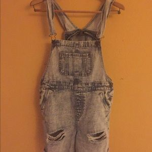 ripped blue denim overall shorts